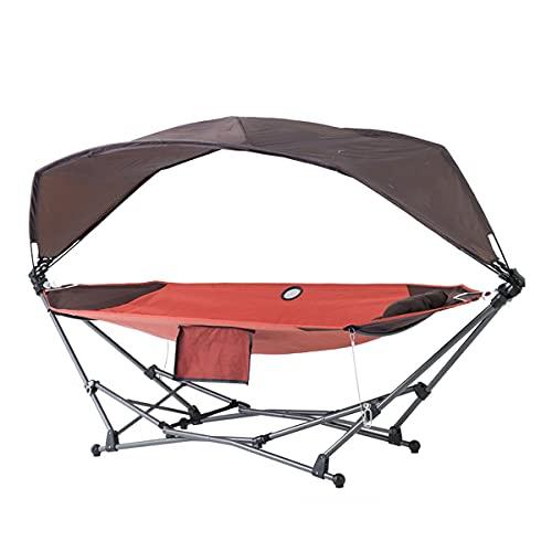 Hamaca con Soporte De Acero para Ahorrar Espacio, Hamacas Portátiles Plegables para Acampar Independientes con Toldo Y Almohadas para Acampar Al Aire Libre En La Playa Relajarse