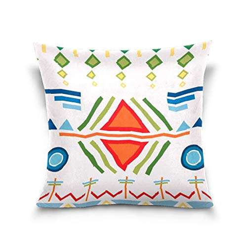 N/Q Decorative Throw Pillow Cover Accent Pillows for Bed, 20x20 inch Cushion Case Square Shape Outdoor Pillowcase Bohemia Retro Ethnic Geometric