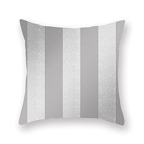 KLily Serie Gris Plateado Funda De Almohada Decorativa Patrón Geométrico Más Funda De Cojín Cojín De Sofá Funda De Almohada Decorativa para El Hogar