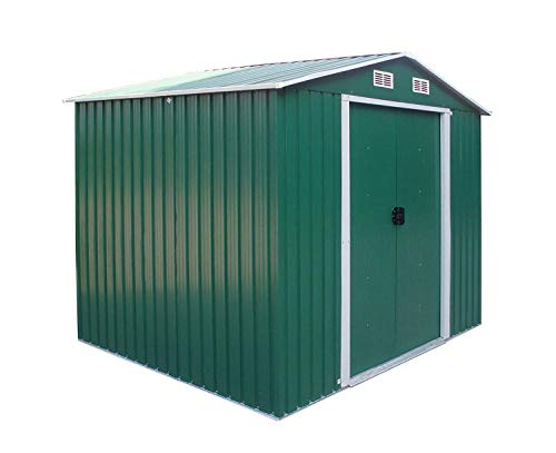 FIDOOVIVIA Outdoor Metal Garden Storage Shed Box Waterproof Anti-corrosion with 2 Sliding Doors, 4 Vents and Floor Foundation(8Ft X 8Ft, Green)