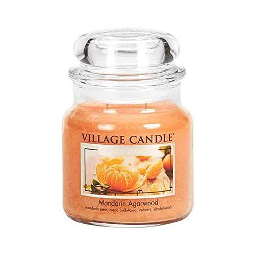 Village Candle Mandarine und Agarholz Duftkerze, 454 g, Glas, Orange, 10.5 x 9.5 x 11.6 cm