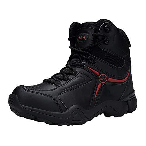 """Botas de trabajo para hombres botas de trabajo tácticas militares, botas del desierto (ultraligeros transpirables de cordones de 6"""", 39, Negro, 1"""