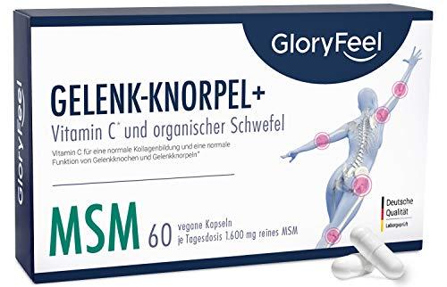 MSM Gelenk-Knorpel+* - Mit natürlichem Vitamin C aus Acerola - 1.600mg MSM plus 12mg Vitamin C Natürlich pro Tagesdosis - 60 vegane Kapseln - Laborgeprüft ohne Zusätze hergestellt in Deutschland