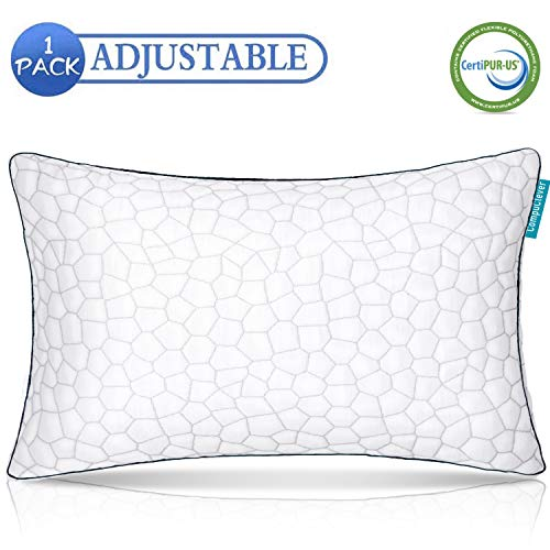 CompuClever Shredded Memory Foam Pillows for Sleeping Bamboo Cooling Gel Hypoallergenic Bed Pillows - Adjustable Loft for Side and Back Sleepers Washable Cover Queen Size