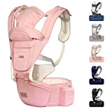 JMMD Baby Carrier with Hip Seat for Newborn & Infant & Toddler, 6 in 1 Carrier with Front and Back Carry Designed Ergonomic M Position, 360° Baby Soft Carrier Meet Outdoor Traveling All Seasons Pink