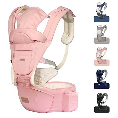 JMMD Baby Carrier with Hip Seat for Newborn & Infant & Toddler, 6 in 1 Carrier with Front and Back Carry Designed Ergonomic M Position, 360°Baby Soft Carrier Meet Outdoor Traveling All Seasons Pink…