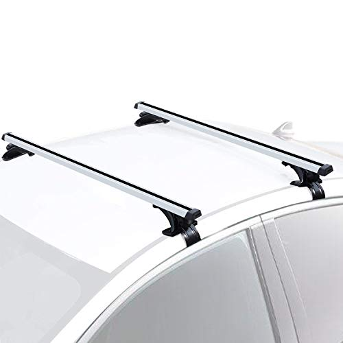 """FIVKLEMNZ One Pair 47"""" Roof Rack Cross Bars, Adjustable Aluminum Cargo Carrier Rooftop Luggage Crossbars, Fit for Car Without Roof Side Rail"""
