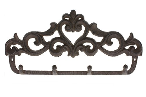 Comfify Decorative Cast Iron Wall Hook Rack - Vintage Design Hanger with 4 Hooks - For Coats, Hats, Keys, Towels, Clothes, Aprons etc |Wall Mounted - 13.6 x 7- With Screws And Anchors by