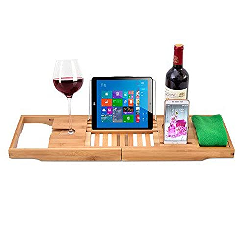 Expandable Bath Table Tray with Book Wine Tablet and Book Holder Bath Tub Caddy for Wine Glass,Reading Rack, Tablet Holder, Cellphone,27x9x2in