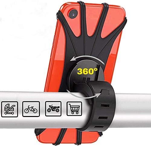 "Soporte Movil Bicicleta,Soporte Movil Moto,GPS Universal Rotación 360° Manillar,Soporte Desmontable Moto,Bici,Ajustable Silicona 4.5""-6.5"""