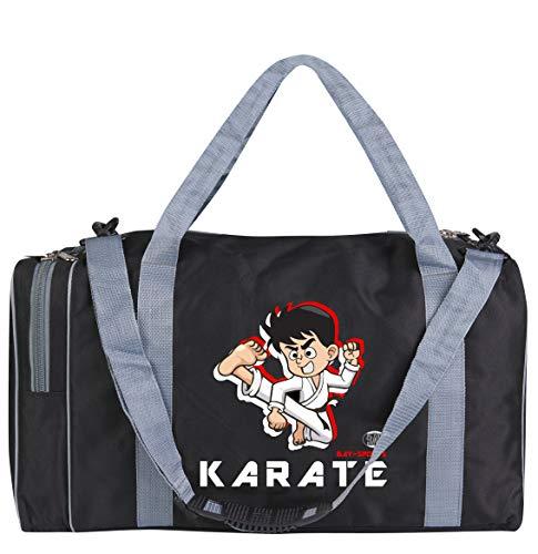 BAY-Sports Sporttasche Karate, Kinder Kids small klein Taschen Bag, schwarz grau, Trainingstaschen Sporttaschen Thaiboxtasche