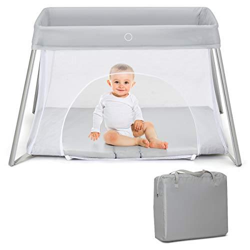 COSTWAY Babybett klappbar, Reisebett mit Matratze und Tragetasche, Laufstall, Babyreisebett, Spielstall, Netzlaufgitter für Kleinkinder, Säuglinge und Neugeborene (Hellgrau)
