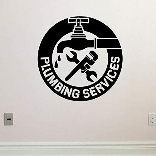 DSGTR Servicios de fontanería Tatuajes de Pared Mecánico Plomero Etiqueta de Vinilo Herramienta de decoración de Garaje Grifo Mural Papel Pintado extraíble 30X40 CM