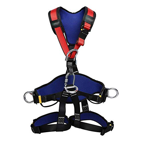 ZWWZ Ganzkörper-Auffanggurt, Ganzkörper-Fallschutzausrüstung, Klettergurt, Kletter Protect Waist-Sicherheitsgurt, verdicken Rock-Harness for Männer Frauen, Persönliche Schutzausrüstung HAIKE