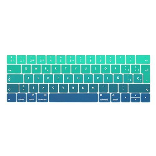 TwoL española Protector Cubierta del Teclado/Keyboard Cover para MacBook Pro 13 15 2016 2017 2018 2019 con Touch Bar A2159 A1989 A1990 A1706 A1707 Silicone Skin (Verde Gradual)