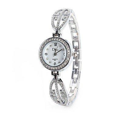 Fashion Watches Schöne Uhren, Damen Kleideruhr Modeuhr Armbanduhr Simulierter Diamant Uhr Chinesisch Quartz Imitation Diamant Legierung Band Vintage Bettelarmband (Farbe : Silber)