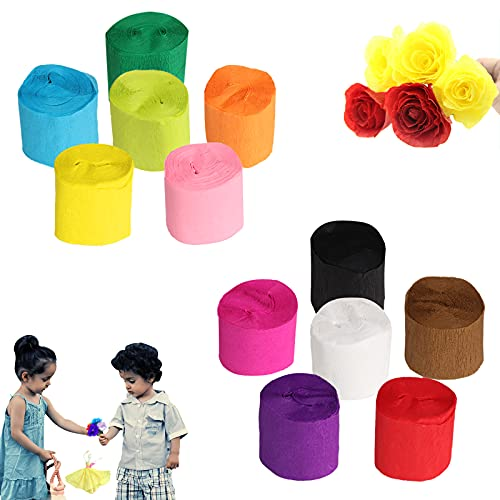 Yisscen Krepppapier Bunt Kreppbänder, 12 Rollen DIY Papier Luftschlangen 100 x 4.5 cm Krepp-Papier 12 Farben Seidenpapier Creppapier für Muttertag Geburtstagsfeier Feier Hochzeit Crepe Paper