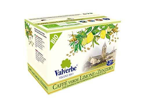 VALVERBE Tisana Caffè Verde, Limone e Zenzero Biologico 20 Filtri - Pacco da 6 - 180 g