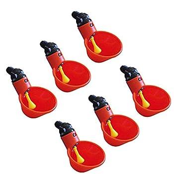 jgashf Abreuvoir Automatique Tasses d'eau Potable Rouge en Plastique pour Oiseaux Poule Volaille - 5PCS /6PCS/12PCS Buveur Volaille Eau Potable Tasses volaille Poulet Poule Bird (12PCS, Rouge)