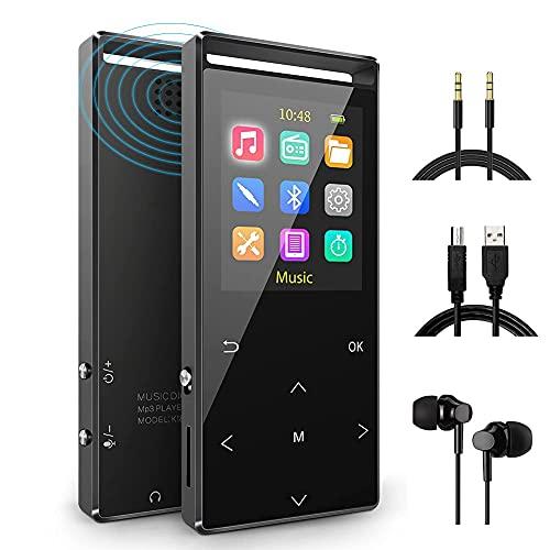 64GB Reproductor MP3 Bluetooth 5.0 Música Podómetro Grabador Radio FM Grabación Soporta hasta 128GB…