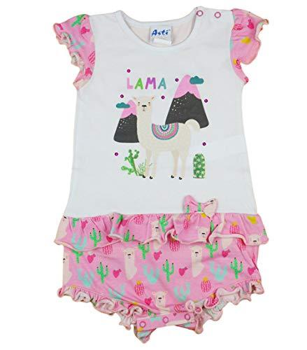 Baby Mädchen Spieler kurz mit Lama Motiv von Disney in Größe 56 62 68 74 80 für 0-6 Monaten,bis 1 Jahr, ideal statt Body oder als Baby-Kleid für Sommer Farbe Modell 2, Größe 68