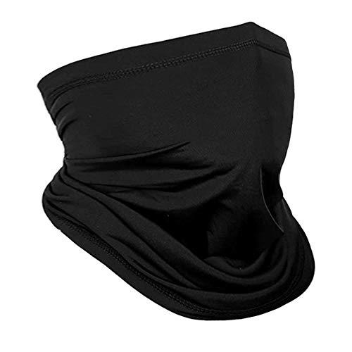 Neck Gaiter Face Mask Reusable, Cloth Face Masks Washable Bandana Face Mask, Face Scarf Mask Cooling ice Silk Women Men Balaclava Headwear for Fishing Hiking Cycling Black