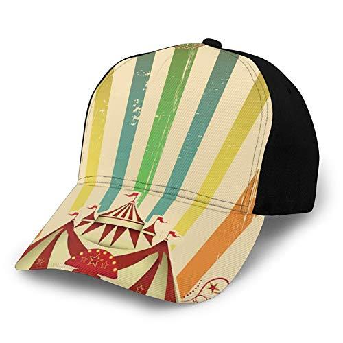 FULIYA Gorra de béisbol lisa lavada, diseño de rayas de carnaval, diseño con estrellas y tienda de campaña divertida y ajustable, regalo para hombres y mujeres