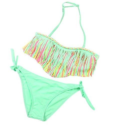 Vovotrade® 1 Set Bébé Filles Baby Girls Maillots de Bain D'été Gland Enfants Split Nylon MSummer Swimwear Tassel Kids Split Nylon Swimsuit Bikini Set (Pink, M)