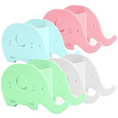 AIFUDA - Supporto per telefono cellulare a forma di elefante, 4 pezzi, supporto per penna da scrivania e portapenne, in legno, per ufficio, adulti, bambini, bianco, blu, verde, rosa