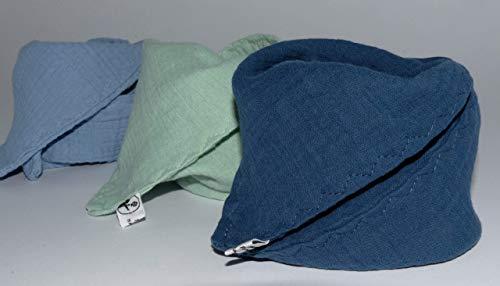 3 Musselin Dreieckstücher/Halstuch/Spucktuch Musselin Baby oder Kleinkind/jeansblau mint blau
