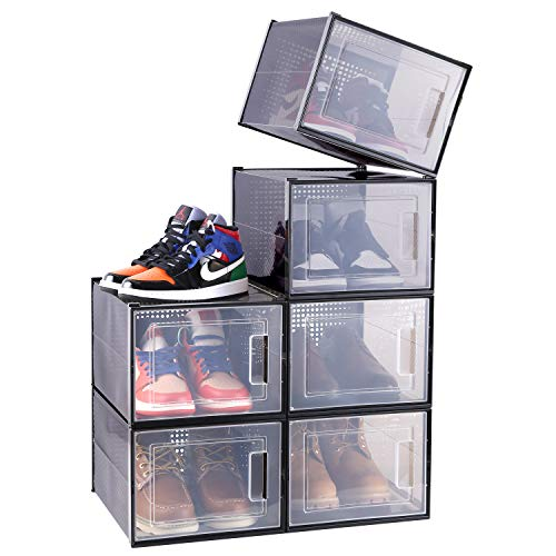 Shoe Box Storage Containers, Ohuhu Ultra Large Shoe Organizer, Stackable Foldable Shoe Rack Drawer Type Front Opening 6 Pack for Closets and Entryway Fit up to US Size 14, Black