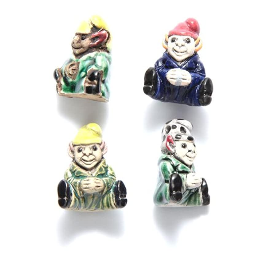 Shipwreck Beads 24mm Peruvian Hand Crafted Ceramic Sitting Gnome Beads, Assorted Color, 10 Per Pack