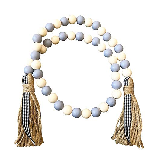 LHZUS Wood Bead String Ornaments Tassel Pendant Wooden Beads Farmhouse Country Style Home Decoration (Color : 06, Size : Free)