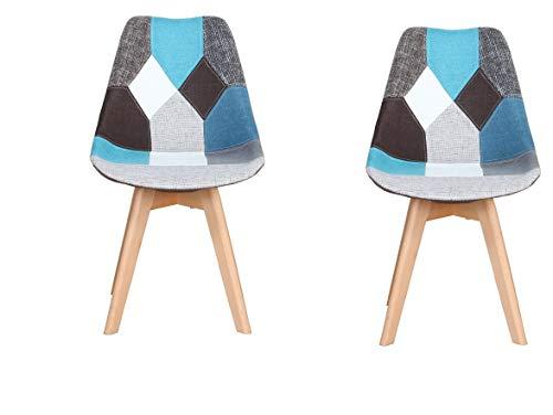 Silla Nordic Silla de oficina simple de estudio de computadora silla de comedor (azul, juego de 2 piezas)