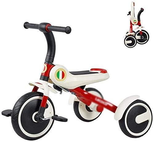 Fahrräder Kinder Tricycle 2-3-5-6 Jahre alten Kinder Folding Fahrrad-bewegliches Kind Fahrrad im Freien Innenfahrradpedal (Farbe: Rot, Größe: 71x50x62cm) lalay ( Color : Red , Size : 71x50x62cm )