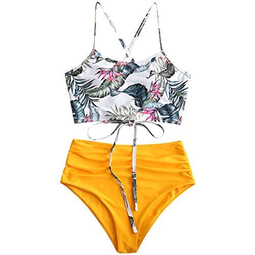 ZAFUL Damen Tankini-Set Gepolsterte Bikini Set mit Blattdruck Schnür Tankini Hohe Taille Badeanzug Bikinis Gelb Large
