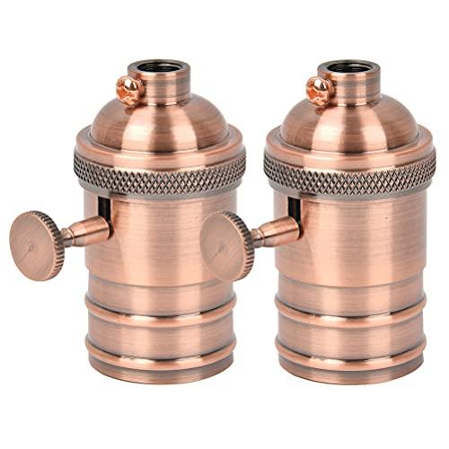 FOCCTS Juego de 4pcs Portalámparas Adaptador de Bombillas Vintage E27 (φ34 * H72mm) Lámpara Convertidor de la Bombilla (Bronce)