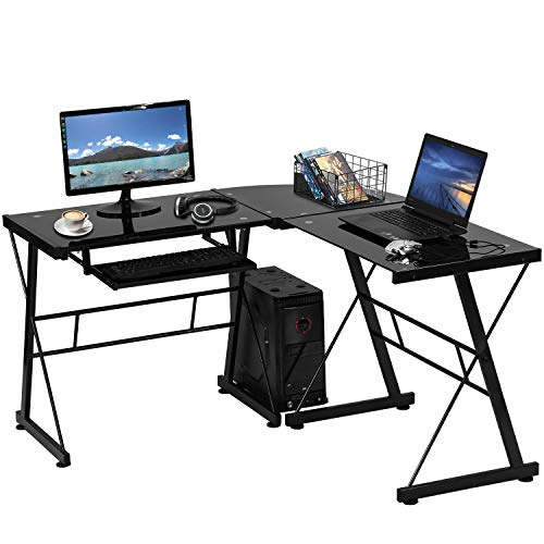 "Meetperfect Computer Desk L Shaped Desk, 51"" Tempered Glass Gaming Desk Corner Desk for Small Space, Home Office Sturdy Writing Table with CPU Stand and Keyboard Drawer, Easy to Assemble(Black)"