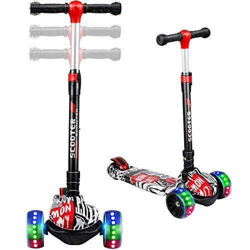 TX Roller Kinder Scooter | Kinderroller | Kinderscooter | Scooter Kinder mit 3 PU LED Leuchtenden Räder,Höhenverstellbar und faltbarem Lenker Kinder Roller für ab 2-12 Jahre Jungen und Mädche