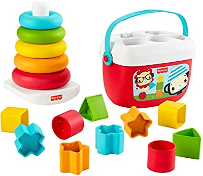 Fisher-Price Baby's First Blocks & Rock-a-Stack, Plant-Based Toys by Fisher-Price