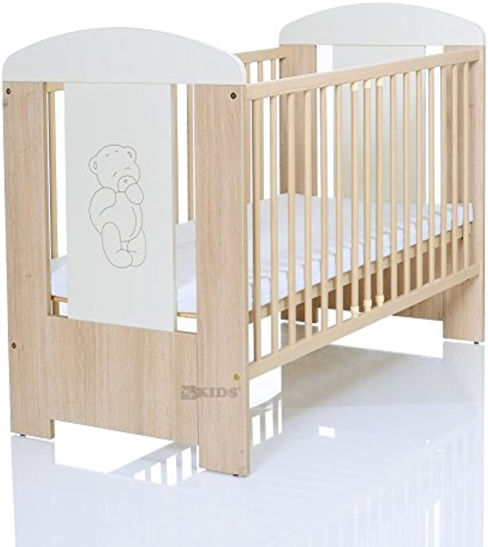 Kinderbett 120x60 cm wei-beige mit 3-fach Hhenverstellbarer Komfort Matratze und 3 Schlupfsprossen
