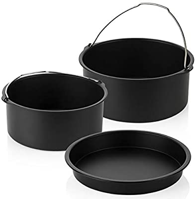 PerfeCome Round Pans for Baking - 8 inch Cake Pan x 2 & 7 inch Cake Pan - Nonstick Pans fits Instant Pot Accessory 6-8 qt, Ninja Foodi, Emeril - Cake Pan Professional Set of 3