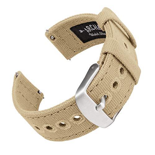 Archer Watch Straps   Correas Reloj Lona de Liberación Rápida para Hombre y Mujer   para Relojes y Smartwatch (Arena, 18mm)