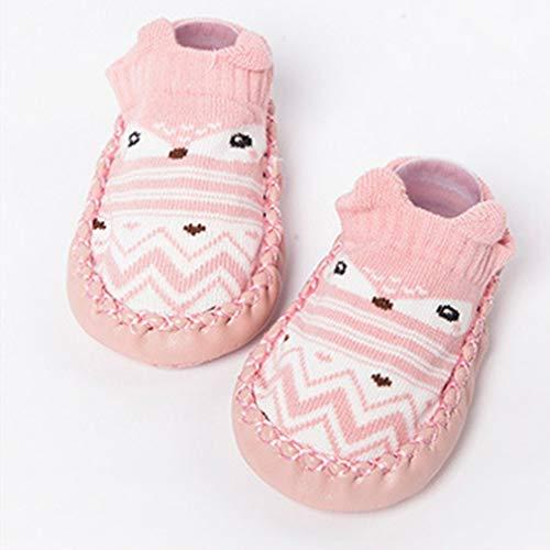 Leuke cartoon babysokken ademend zachte katoenen sokken schoenen antislip vloersokken voor peuters meisjes jongens sokken laarzen roze 11cm