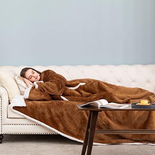 HBselect Manta con Mangas Invierno, Batamanta de Coralina con Bolsillo Frontal para Mujer Homre, Hoodie Blanket de Tejido Felpa Suave y Acogedor para Sofa