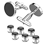 UHIBROS Mens Cuff Links & Stud Sets Polished Finish Stainless Steel Cufflink Luxury French Tuxedo Shirt Cufflinks for Men