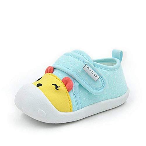 Unisex Niemowlęta chłopcy dziewczęta pierwsze chodziki urocze kreskówkowe trampki maluch podstawowe buty trener dla niemowląt antypoślizgowe buty do nauki chodzenia, - Niebieski 1 - 20 EU