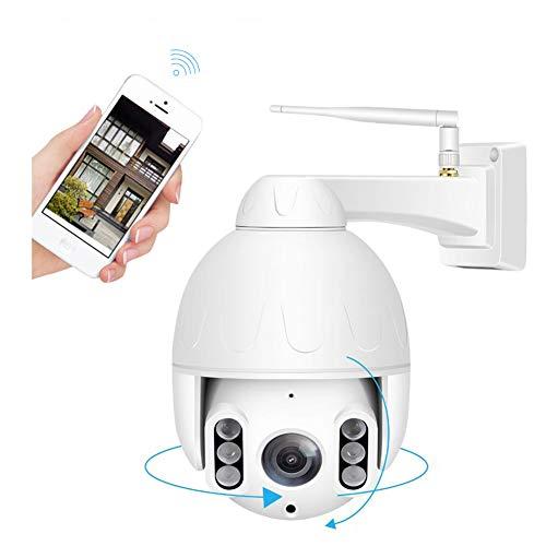 WiFi IP Camera, Outdoor Mini Wireless PTZ 5X Optical Zoom 1080P Speed Dome Camera IP66 Waterproof P2P 50M Night Vision Surveillance,White