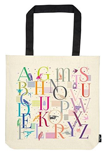 moses. libri_x Shopper Alphabet, Tragetasche 100% Baumwolle, Sporttasche, 42 cm, Natur