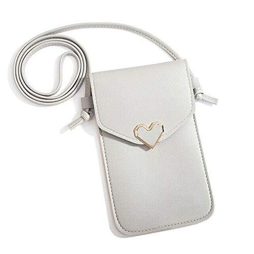 Mini Multifunktions Kleine Umhängetasche Handy Geldbörse Brieftasche Kartenhalter Tasche, mit verstellbarem Schultergurt, klares Telefonfenster, für Frauenreisen (Grau)